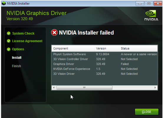 How to Fix NVIDIA Installer failed