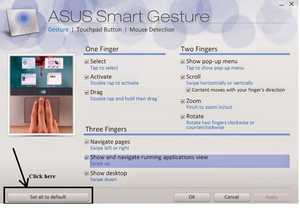 Reset Asus Smart Gesture Settings