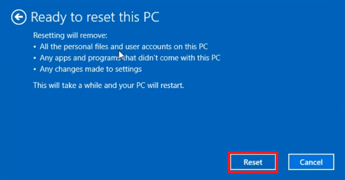 Ready to reset this PC