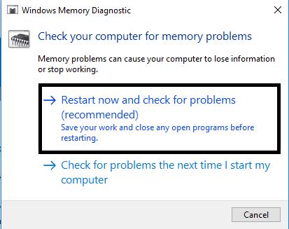 Windows memory diagonstic