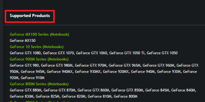 nvidia graphics driver supported products