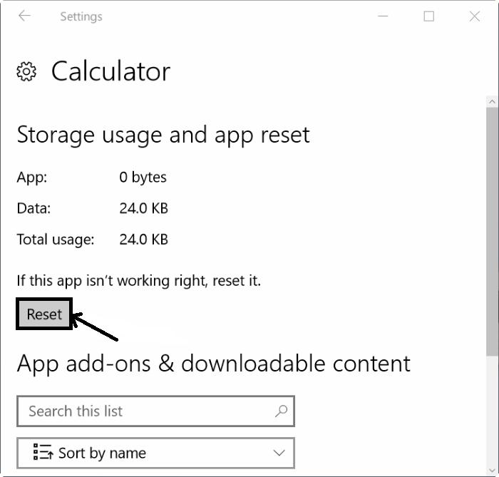 Reset windows 10 Calculator