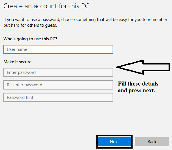 Create an account for this PC