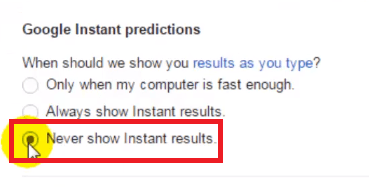 Turn off Google Instant results