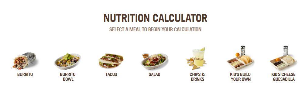 Chgipotle nutrition calculator