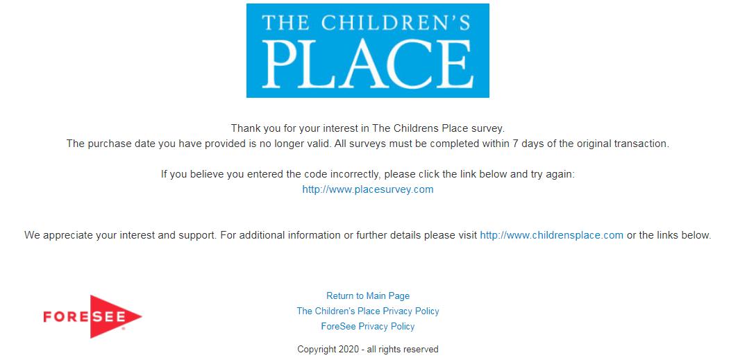 Children's Place Guest Satisfaction Survey