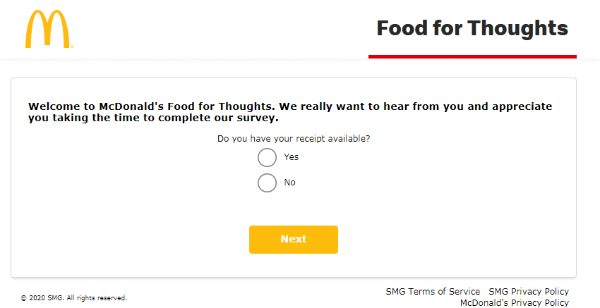 McDonald's Food for Thoughts Guest Experience Survey