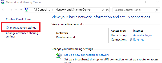 select your LAN connection