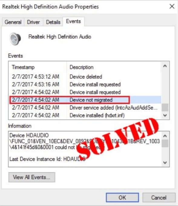 Device was not migrated due to partial or ambiguous match