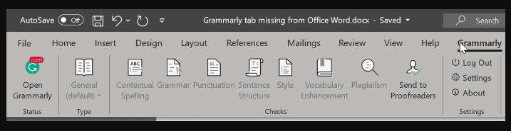 Grammarly Missing From Office Word