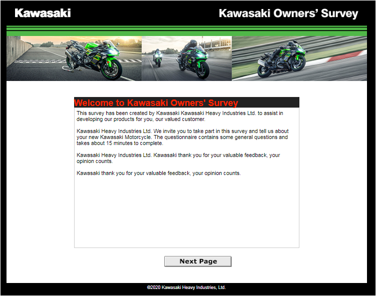 Kawasaki Owner's Web Survey