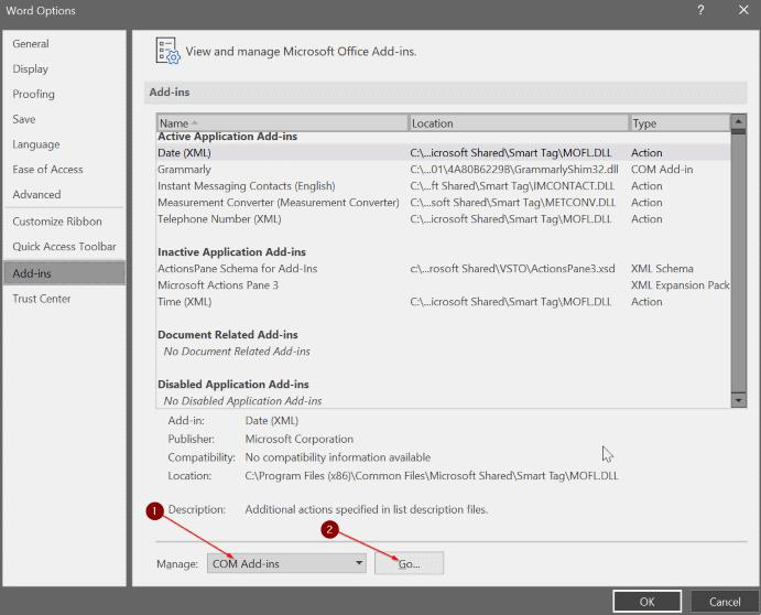 selectCOM Add-ins