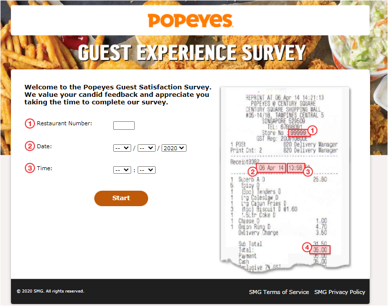 Tell Popeyes Singapore Survey