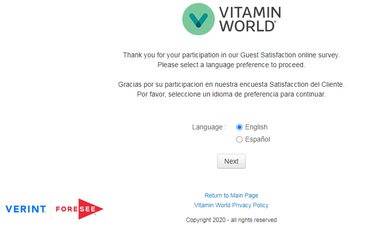 Vitamin World Guest Satisfaction Survey