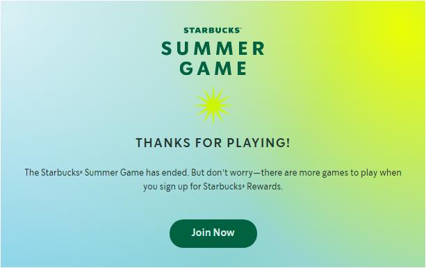 Starbucks Summer Game Survey Homepage