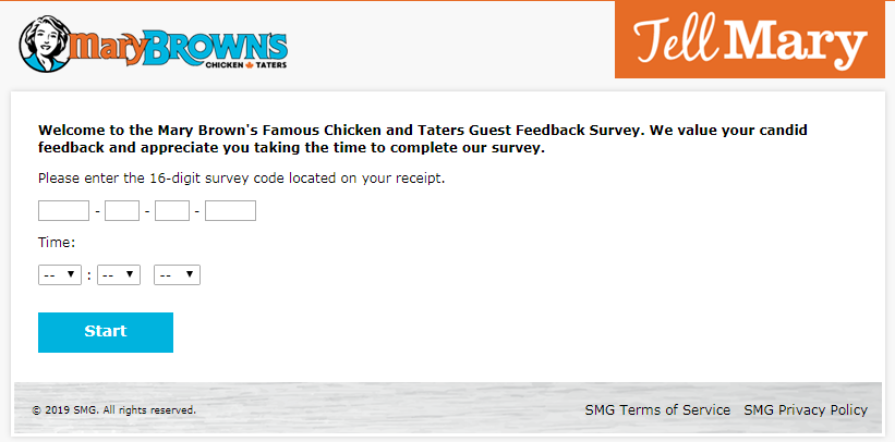 Tell Mary Brown's Customer Satisfaction Survey