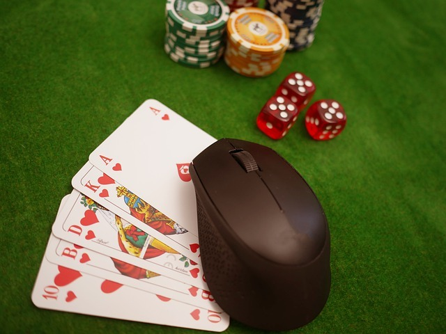 playing cards, dice, and poker chips with a computer mouse